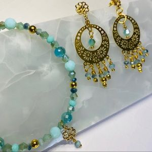 Gold & Aqua Swarovski Earring and Bracelet Set